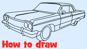 classic cars drawings how to draw a car chevrolet impala lowrider 1964 youtube