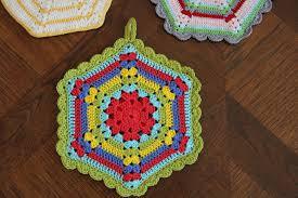 free vintage crochet climbing trellis hexagon pot holder pattern