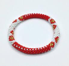bracelet red images Red gold and white nepal bracelet strechable bracelets glass jpg