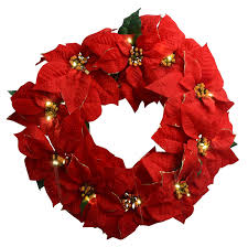 23 inch poinsettia lighted wreath golden tipped