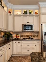 Kitchen With Off White Cabinets I Love This Color Scheme Tropical Brown Granite With Creme