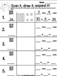 qr code expanded form with base 10 blocks math centers fun math