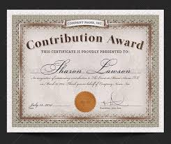 award template contribution award certificate template award