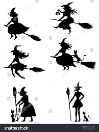 halloween images black and white set silhouette blackandwhite image halloween witches stock vector