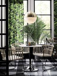 Tropical Dining Room Furniture Tropical Leaf Print Curtains In Modern Green Dining Room Dining