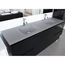 Glass Top Vanities Bathrooms Aurora Matte Grey Double Bowl Glass Vanity Top 1800mm Highgrove