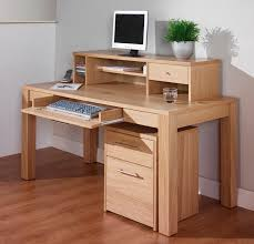 Office Desks Wood Oak Computer Office Desk With Shelf Also Drawer As Storage On
