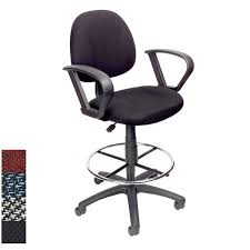Adjustable Drafting Chair Boss Adjustable Black Loop Arm Drafting Stool With Wheel Casters