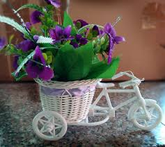 vase cycle shape flower pot with flowers flower bucket vases