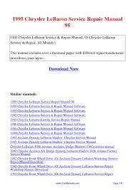 1995 chrysler lebaron service repair manual 95 pdf by linda pong