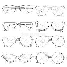 vector set of sketch glasses eyeglass frames stock illustration