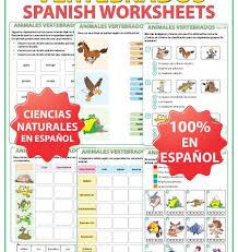 animales vertebrados u2013 spanish vertebrates worksheets woodward