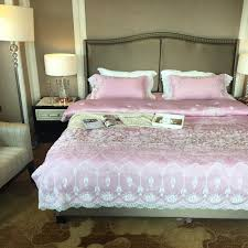 Cotton Queen Duvet Cover 4pcs Lace Duvet Cover Satin Bed Sheet Pink Pillowcases Jacquard
