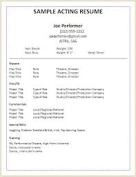 musical theatre resume template here are acting resume exle acting resume template musical