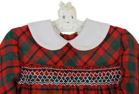 polly flinders red and green plaid smocked dress with collar
