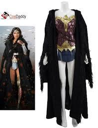 wonder woman diana prince battle suit black cloak cosplay costume