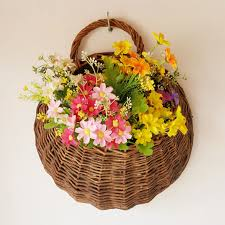 flower basket rattan flower basket shape flower plant hanging vase container