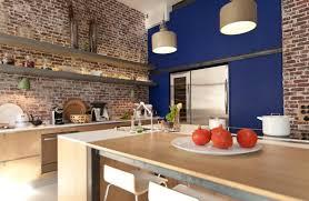 cuisine avec brique avec mur en brique