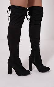 buy boots cheap uk bess black faux suede heel thigh boots image 1 fashion must