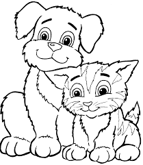 cat and dog coloring page free download