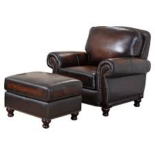 tufted leather chair and ottoman abbyson barclay 4 piece hand rubbed leather sofa set brown