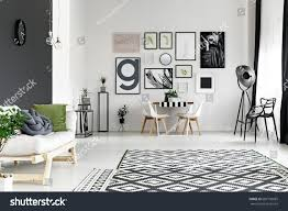 spacious living room black white walls spacious living room stock photo 683190685