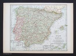 Spain And Portugal Map by Countries Europe Vintage Maps