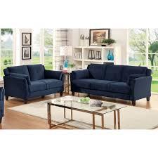 Blue Sofa Set Furniture Of America Sophea Flannelette 2 Piece Sofa Set
