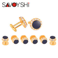 mens studs savoyshi luxury enamel cufflinks tuxedo studs set for mens shirt