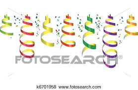 party streamers clip of party streamers and confetti k6701958 search clipart