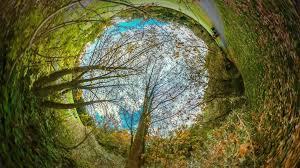 spherical panorama of city park rabbit hole planet 360 degree
