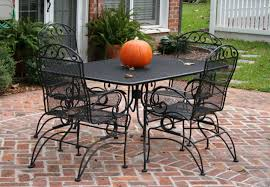 Patio Table With Chairs Iron Patio Table And Chairs Metal Mesh Folding Vintage Cast Foret