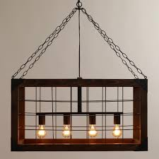 rectangle wood hanging farmhouse chandelier with iron chains for