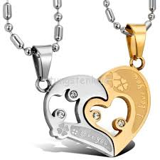 gold clover pendant necklace images Couple stainless steel combining heart pendant quot i love you quot lucky jpg