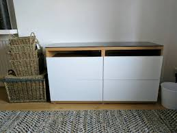 ikea besta tv bench with drawers and glass top in clapham
