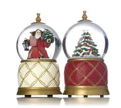mr set of 2 musical snow globe ornaments qvc uk