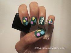 i did these colorful overlapping triangle geometric nails using