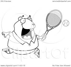 cartoon clipart of a black and white chubby hamster playing tennis