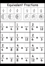 several equivalent fractions worksheets math science art ect