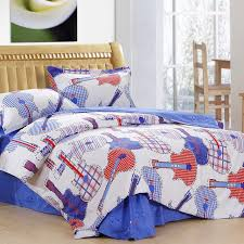 music themed queen comforter blue white and orange music theme kids roman guitar sheets bedding
