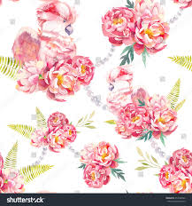 Peonies Bouquet Watercolor Seamless Pattern Peonies Bouquet Pearls Stock