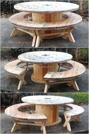 outdoor tables made out of wooden wire spools recycled pallet cable reel patio furniture pallet project