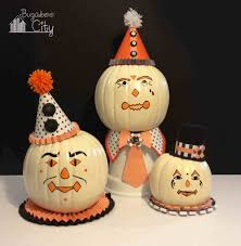 diy vintage clown pumpkins decorating with paper and paint