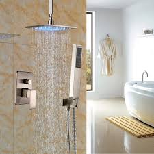 rozin brushed nickel rainfall shower faucet ceiling mount led 16 rozin brushed nickel rainfall shower faucet ceiling mount led 16