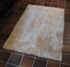 Faux Fur Sheepskin Rug Amazon Com Flokati Faux Fur Rugs 5 U0027 X 7 U0027 Beige Kitchen U0026 Dining