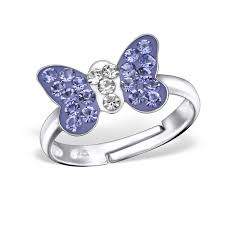 childrens rings children s silver butterfly adjustable ring 28180 elf925