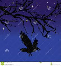 dark crow bird flying over scary halloween night tree vector stock