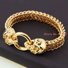 skull bracelet charm images Wholesale new fashion vintage jewelry gold stainless steel skull jpg