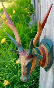 carved wood deer vegan taxidermy mount wall decor boho chic bali