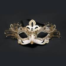 metal masquerade mask and gold decorative metal venetian mask